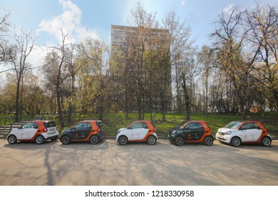 MOSCOW - APR 30, 2018: Five Mercedes Benz Smart cars of Moscow carsharing company You drive on sunny street, carsharing is system of short-term car rental