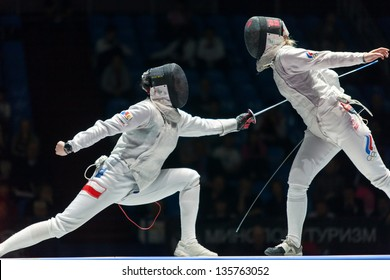 MOSCOW - APR 6: Women compete on championship of world in fencing among juniors and cadets, in Sports Olympic complex, on April 6, 2012 in Moscow, Russia