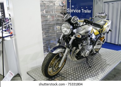 MOSCOW - APRIL 1: Motorcycle Yamaha XJR1300 at the Moscow specialized Exhibition  of motor cycling industry in Russia on April 1, 2011 in Moscow, Russia