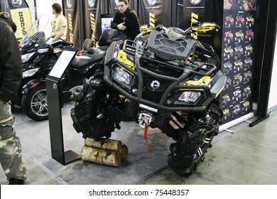 MOSCOW - APRIL 1: Quad bike BRP Can-Am OUTLANDER 800 XMR at the Moscow specialized Exhibition  of motor cycling industry in Russia on April 1, 2011 in Moscow, Russia