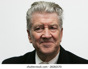 MOSCOW - APRIL 10: David Lynch, the Academy Award winner as film director, attends a news conference during opening of his`The Air Is on Fire` exhibition on April 10, 2009 in Moscow, Russia.