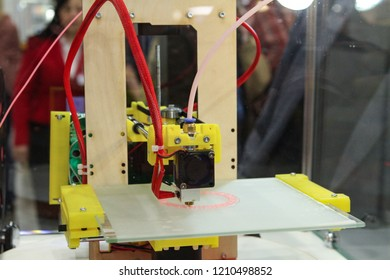 Moscow - April 15, 2016: 3D printer at works at the international exhibition of the fashion industry, Collection Premiere Moscow CPM. Public-event.