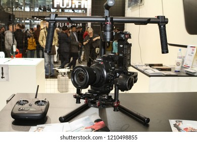 Moscow - April 15, 2016: Systems stabilization device RONIN at the international exhibition of the fashion industry, Collection Premiere Moscow CPM. Public-event.