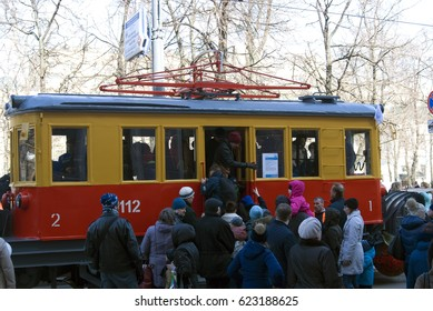 MOSCOW - APRIL 15, 2017: Moscow tramway parade - 2017 on Chistiye prudy in Moscow. Show of retro and modern trams. Color photo.