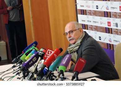 MOSCOW - APRIL 20, 2018: Nikita Mikhalkov, film director and president of Moscow International Film Festival at a briefing of 40th festival Color photo.