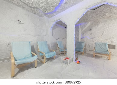 """MOSCOW - APRIL 2015: Interior Salt Cave """"Galo Plus"""" Therapy (Halotherapy)"""