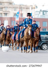 MOSCOW - APRIL 24, 2015: cavalry of Russian Cossacks on Don horses ready for hike in a way to Berlin - reconstruction of scene in I World War.