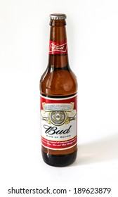 MOSCOW - APRIL 28, 2014: Bottle of Budweiser Beer on a white background.