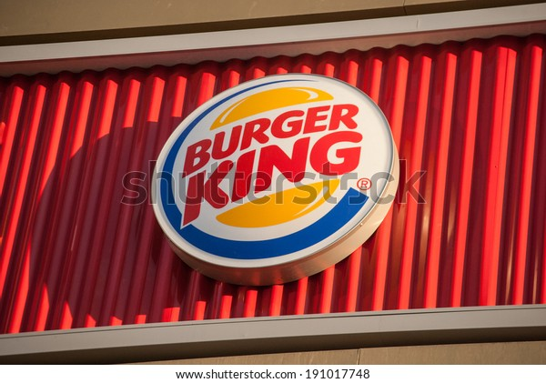 """MOSCOW - APRIL 29: The logo of the fast food chain """"Burger King"""", April 29, 2014, Moscow, Russia. Burger King is a global chain of hamburger fast food restaurants"""
