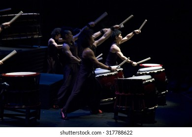 """MOSCOW - APRIL 7: Show of Japanese drummers 'YAMATO' in  the Moscow International House of Music with the new program """"Matsuriâ?�   on April 7, 2009 in Moscow, Russia."""