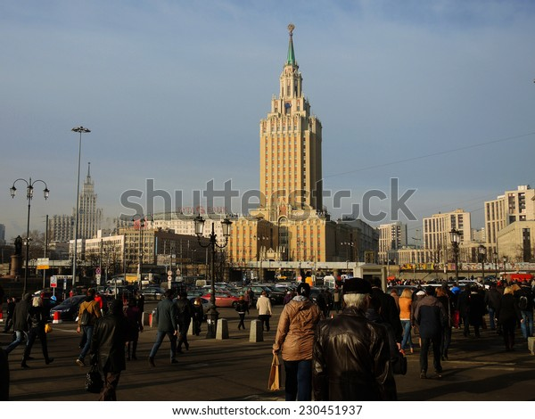 MOSCOW - APRIL 8: View of Lenin Hotel Skycraper in Stalinist style on April 8, 2014 in Moscow, Russia.
