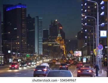Moscow, Arbat street, winter, night, city, city lights, hotel Ukraine December 11, 2016