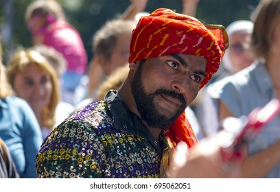 MOSCOW - AUG 12: Unidentified man dressed in traditional Indian dress at a park during celebrating Independence Day (India) in Moscow on August 12. 2017 in Russia