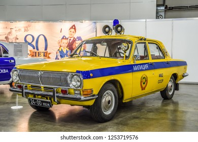 MOSCOW - AUG 2016: GAZ 24 Volga militia police GAI presented at MIAS Moscow International Automobile Salon on August 20, 2016 in Moscow, Russia.