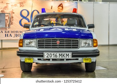 MOSCOW - AUG 2016: GAZ 31029 Volga militia police GAI presented at MIAS Moscow International Automobile Salon on August 20, 2016 in Moscow, Russia.