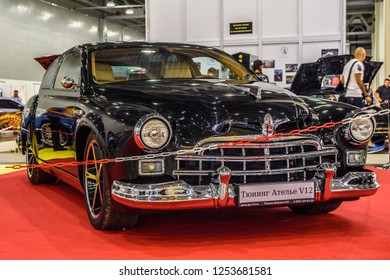 MOSCOW - AUG 2016: GAZ-12 ZIM tuning presented at MIAS Moscow International Automobile Salon on August 20, 2016 in Moscow, Russia.