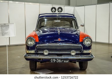 MOSCOW - AUG 2016: GAZ-21 militia police presented at MIAS Moscow International Automobile Salon on August 20, 2016 in Moscow, Russia.