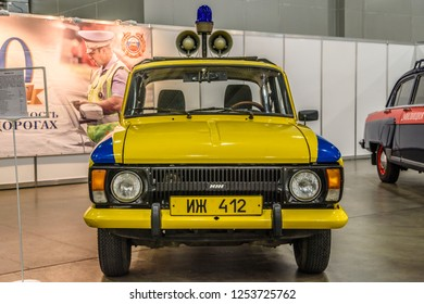 MOSCOW - AUG 2016: IZH-412 militia police GAI presented at MIAS Moscow International Automobile Salon on August 20, 2016 in Moscow, Russia.