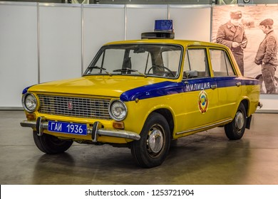 MOSCOW - AUG 2016: LADA VAZ 2101 militia police GAI presented at MIAS Moscow International Automobile Salon on August 20, 2016 in Moscow, Russia.