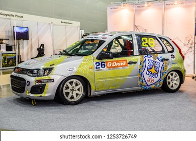 MOSCOW - AUG 2016: Lada VAZ Kalina 2192 SMP Racing presented at MIAS Moscow International Automobile Salon on August 20, 2016 in Moscow, Russia.