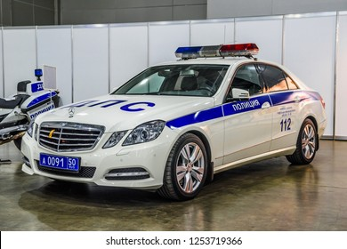 MOSCOW - AUG 2016: Mercedes-Benz E-klasse W212 militia police presented at MIAS Moscow International Automobile Salon on August 20, 2016 in Moscow, Russia.