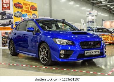 MOSCOW - AUG 2016: Subaru Impreza WRX STI presented at MIAS Moscow International Automobile Salon on August 20, 2016 in Moscow, Russia.