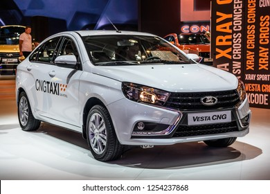 MOSCOW - AUG 2016: VAZ LADA Vesta CNG presented at MIAS Moscow International Automobile Salon on August 20, 2016 in Moscow, Russia.