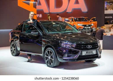 MOSCOW - AUG 2016: VAZ LADA Vesta Signature presented at MIAS Moscow International Automobile Salon on August 20, 2016 in Moscow, Russia.