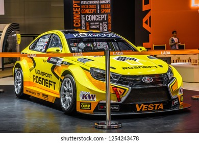 MOSCOW - AUG 2016: VAZ LADA Vesta Sport presented at MIAS Moscow International Automobile Salon on August 20, 2016 in Moscow, Russia.