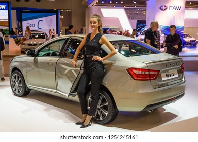 MOSCOW - AUG 2016: VAZ LADA Vesta presented at MIAS Moscow International Automobile Salon on August 20, 2016 in Moscow, Russia.