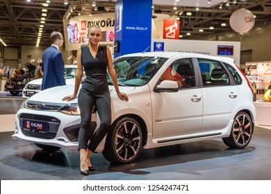 MOSCOW - AUG 2016: VAZ Lada Kalina NFR presented at MIAS Moscow International Automobile Salon on August 20, 2016 in Moscow, Russia.