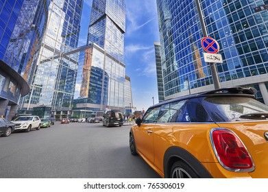 MOSCOW, AUG, 22,2017: View on Moscow biggest business center Moscow City office skyscrapers tower. Business center office car parking. Office people on street. Parking places absence concept image.