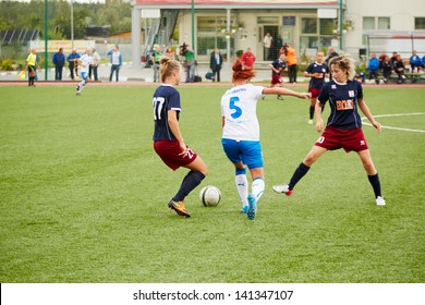 MOSCOW - AUG 23:  Start of Russia championship on female soccer, match between CSP Izmailovo (Moscow) - Mordovochka (Saransk) , August 23, 2012, Moscow, Russia.