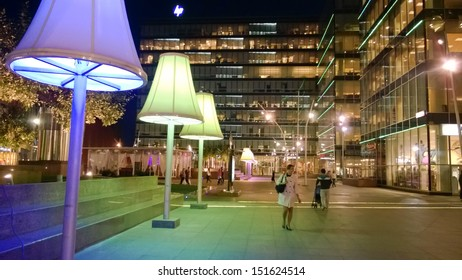 MOSCOW - AUG 27 2013: People are walking at Metropolis shopping center, August 27, 2013, Moscow, Russia.