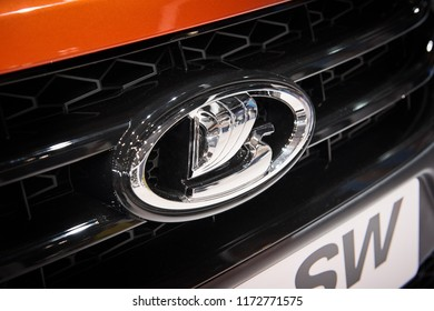 MOSCOW, AUG.31, 2018: Close up diagonal view on Russian car logotype LADA. Logos of the world famous automobile brands. Automotive industry