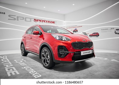MOSCOW, AUG.31, 2018: The newest Korean Kia Sportage car on automotive exhibition stand on MMAC 2018. Automobile show of family personal cars. World last automotive developments and achivements