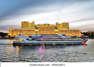 MOSCOW - AUGUST 07, 2017: Cruise ship sails on the Moscow river in Moscow city center, popular place for walking.