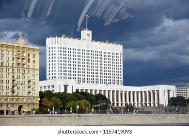 MOSCOW - AUGUST 07, 2018: Governmental building of the RF - White House - seen through the glass window. Popular landmark.