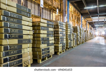 Moscow - August 1, 2017: A lot of goods are in large warehouse. Logistics and transportation concept. Panoramic view of warehouse interior. Industrial storage and stock. Inside the modern warehouse.
