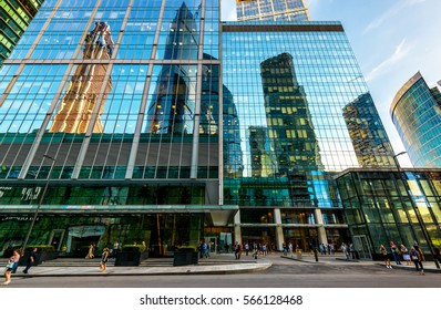 MOSCOW - AUGUST 10, 2016: Street of skyscrapers in Moscow-City. Architecture landmark of Moscow. Moscow-City is a business district of Moscow. Modern buildings facades reflect the urban structures.
