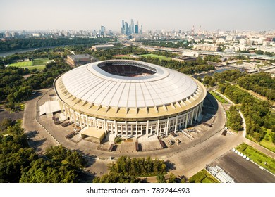 Moscow - August 19, 2017: Aerial view of Moscow with the Luzhniki Stadium in 2017, Russia. Luzhniki Stadium has been selected for the 2018 FIFA World Cup. Famous Soviet arena for football.