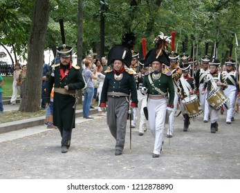 """Moscow – August 19, 2018: Patriotic War in 1812 against Napoleon I (Napoleonic Wars) site at """"Times and Epochs"""" Festival"""