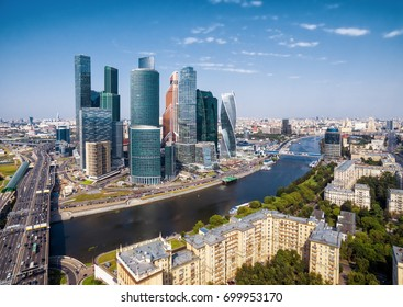 Moscow - August 20, 2017: Aerial view of Moscow-City skyscrapers over Moskva River. Moscow skyline. Panorama of summer Moscow. Cityscape and landscape of Moscow.