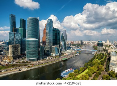 MOSCOW - AUGUST 21, 2016: Aerial panoramic view of Moscow-City skyscrapers, Russia. Moscow-City is a modern business district in Moscow centre. Sunny scenery of Moscow with new urban buildings.