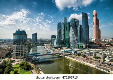 MOSCOW - AUGUST 21, 2016: Aerial panoramic view of Moscow-City skyscrapers at Moskva River, Russia. Moscow-City is a business district in Moscow centre. Modern urban buildings in Moscow from above.