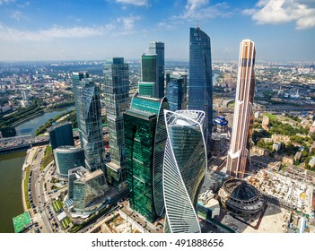 MOSCOW - AUGUST 21, 2016: Aerial view of Moscow-City at Moskva River in summer, Russia. Moscow-City is a modern business district in Moscow centre. New residential and office skyscrapers from above.