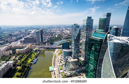 MOSCOW - AUGUST 21, 2016: Aerial panoramic view of Moscow-City at Moskva River, Russia. Moscow-City is a new business district in Moscow centre. Skyline of Moscow with the modern tall buildings.