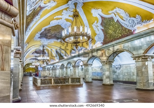 MOSCOW - AUGUST 22, 2016: Komsomolskaya subway station in Moscow, Russia. The station is on the Koltsevaya Line of the Moscow Metro and opened in 1952
