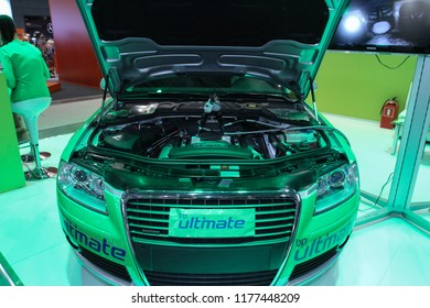 Moscow - August 26, 2016: Car with an open hood in a laboratory at the Moscow International Automobile Salon, MIAS. Public-event.