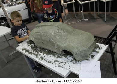 Moscow - August 26, 2016: Concept clay car at the Moscow International Automobile Salon, MIAS. Focus at the auto. Public-event.